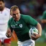 Ireland's Keith Earls runs with the ball on his way to scoring a try during their Rugby World Cup Pool C match against Russia at Rotorua International Stadium in Rotorua