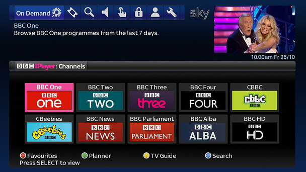 Sky adds bbc iplayer for The living room channel 10 catch up